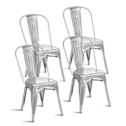 Williston Forge Javier Stackable Tolix Dining Chair (Set of 4); Polished Gunmetal