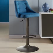 Brayden Studio Judkins Fabric Adjustable Height Stools; Blue