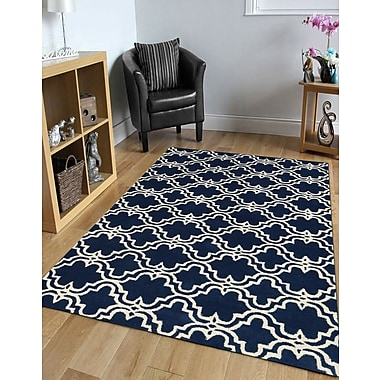 Charlton Home Ladd Trellis Wool Hand-Tufted Navy Area Rug; 8' x 10'