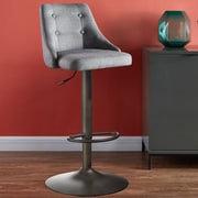 Brayden Studio Judkins Fabric Adjustable Height Stools; Gray