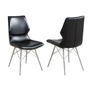 Brayden Studio Judd Faux Leather/Metal Upholstered Dining Chair (Set of 2); Black