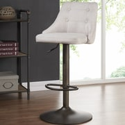 Brayden Studio Judkins Fabric Adjustable Height Stools; Beige
