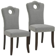 Darby Home Co Bentonville Fabric Upholstered Dining Chair (Set of 2); Walnut/Light Gray