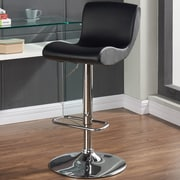 Orren Ellis Priscilla Adjustable Height Faux Leather Stool (Set of 2); Black