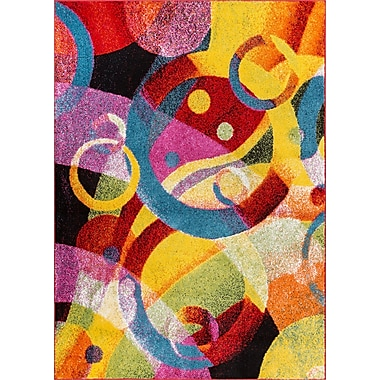 Latitude Run Cherita Modern Abstract Art Deco Blue/Yellow Area Rug; 3'3'' x 5'