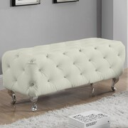 Mercer41  Hitchin Faux Leather Bedroom Bench; Off White
