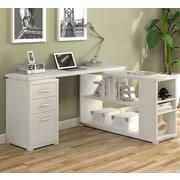 Latitude Run Venango L-Shape Writing Desk; True White