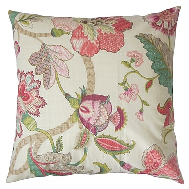 Darby Home Co Chancery Floral Cotton Throw Pillow Cover; Rose Green