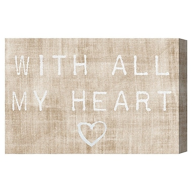 Ivy Bronx 'With All My Heart' Textual Art on Canvas; 16'' H x 24'' W x 1.5'' D