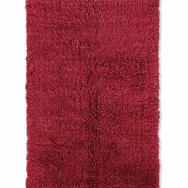 Latitude Run Carrico Flokati Hand-Woven Red Area Rug; 7' x 10'