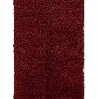 Latitude Run Carrico Flokati Hand-Woven Dark Red Area Rug; 7' x 10'
