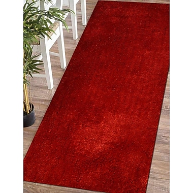 Ebern Designs Sanford Solid Hand Tufted Red Area Rug; Runner 2' 6'' x 10'