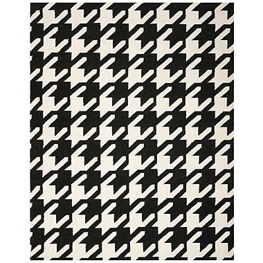 Ebern Designs Rodgers Black / Ivory Area Rug; 3' x 5'