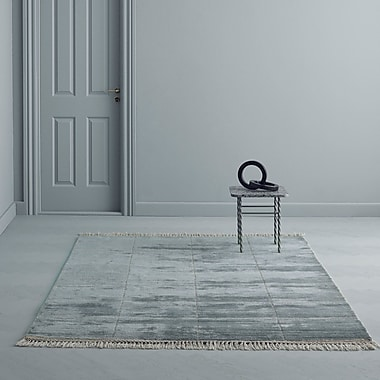 Everly Quinn Bourquin Hand Knotted Wool Turquoise Area Rug; 6'6'' x 9'8''