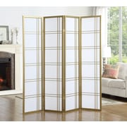 Ebern Designs Lana 71'' x 72'' 4 Panel Room Divider; Gold