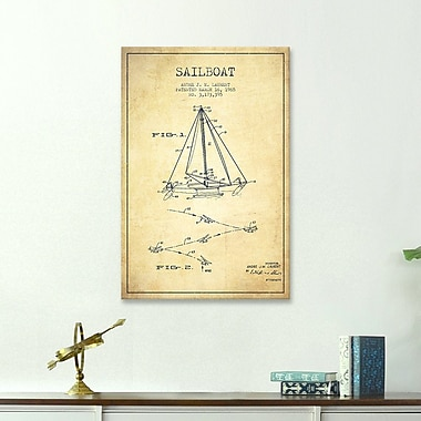 Williston Forge 'Double Ended Sailboat Vintage Patent Blueprint' Graphic Art on Wrapped Canvas