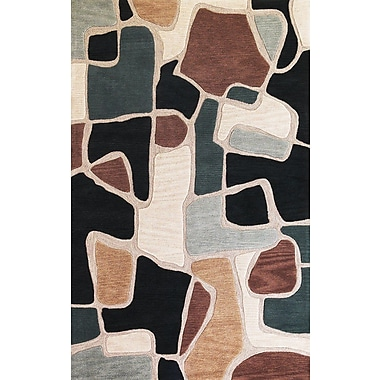 Latitude Run Carrara Beige/Blue Bedrock Rug; 9' x 13'
