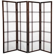 Mistana 60'' x 56'' Boyer 4 Panel Room Divider; Walnut