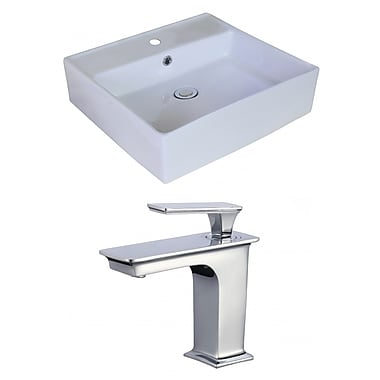 Jade Bath Above Counter Square Vessel Bathroom Sink w/ Overflow
