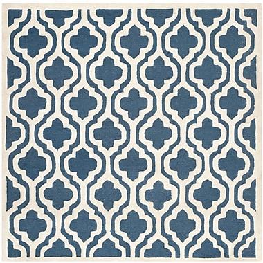 Winston Porter Darla Navy/Ivory Geometric Area Rug; 10' x 10'