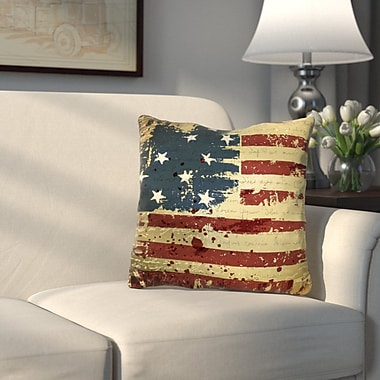 Alcott Hill Wallingford Vintage American Flag Throw Pillow; 20'' H x 20'' W