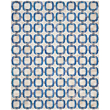 Brayden Studio Cartwright Hand-Woven Ivory/Blue Area Rug; 8' x 10'