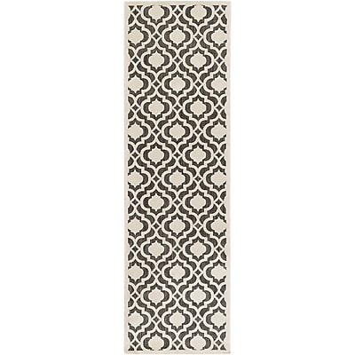Charlton Home Countryman Ivory/Black Indoor/Outdoor Area Rug; Runner 2'6'' x 7'10''