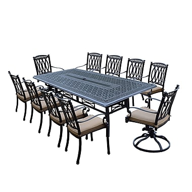 Darby Home Co Otsego 11 Piece Aluminum Dining Set w/ Cushions; 28.5'' H x 60'' W x 84'' D