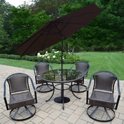 Darby Home Co Parishville 5 Piece All Weather Resin Wicker Dining Set w/ Umbrella; Brown