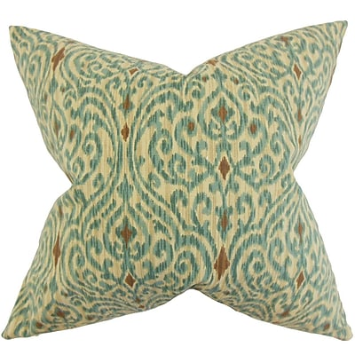 Darby Home Co Chantry Ikat Cotton Throw Pillow Cover; Aqua Cocoa