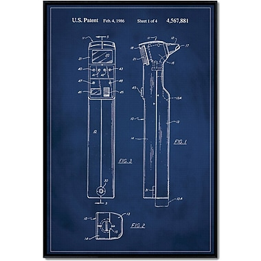 17 Stories 'Otoscope Patent' Framed Graphic Art Print on Wrapped Canvas; 18'' H x 12'' W