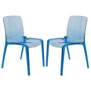 Orren Ellis Maryln Modern Stacking Patio Dining Chair (Set of 2); Transparent Blue