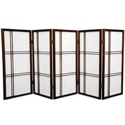 Mistana 35.75'' Boyer Screen 5 Panel Room Divider; Walnut