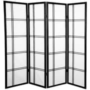 Mistana 60'' x 56'' Boyer 4 Panel Room Divider; Black
