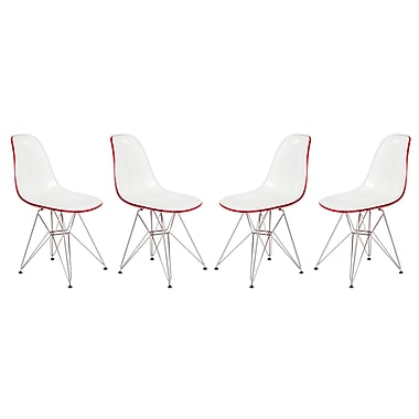 Orren Ellis Alethia Molded 2-Tone Eiffel Dining Side Chair (Set of 4) (Set of 4); White/Red