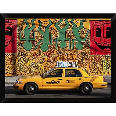 East Urban Home 'Taxi and Mural Painting NYC' Framed Photographic Print; 12'' H x 16'' W