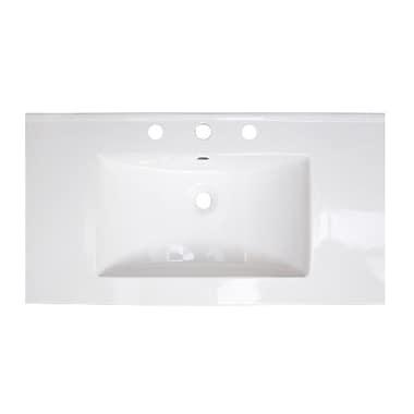 American Imaginations Flair Ceramic 37'' Single Bathroom Vanity Top; 8'' Centers