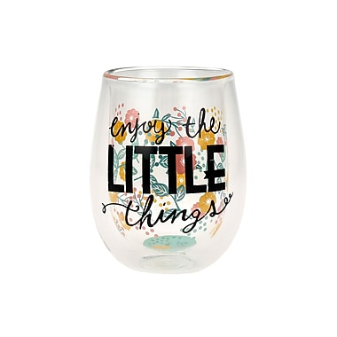 Waitsfield Double Wall 'Enjoy the Little Things' Inspirational 13 oz. Stemless Wine Glass