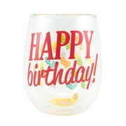 The Holiday Aisle Double Wall 'Happy Birthday' 13 oz. Stemless Wine Glass