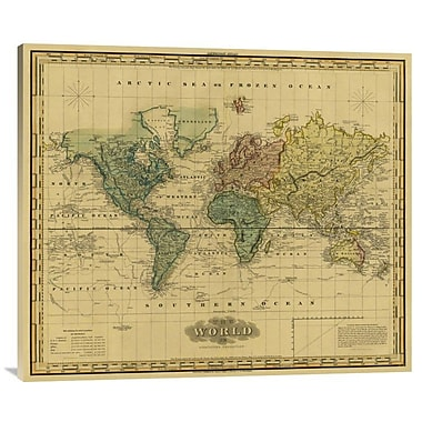 'World On Mercators Projection, 1823 - Tea Stained' Watercolor Painting Print on Canvas