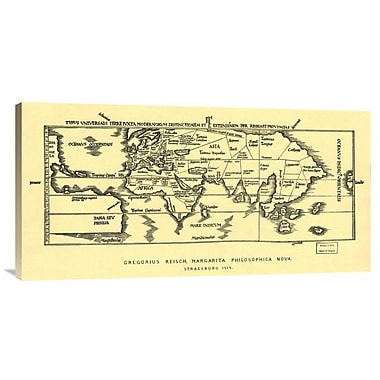 East Urban Home 'Early World Map' Watercolor Painting Print on Canvas; 15'' H x 30'' W x 1.5'' D