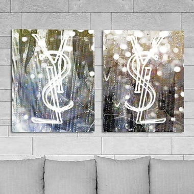 Everly Quinn 'Call Your Girlfriend Snow Diptych' 2 Piece Graphic Art on Wrapped Canvas Set