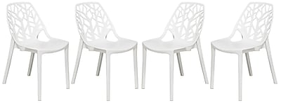 Ivy Bronx Kimonte Modern Stacking Dining Side Chair (Set of 4); Solid White