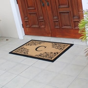 Darby Home Co Hedvige Courtyard Entry Double Monogrammed Doormat; C