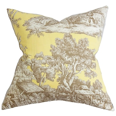 Darby Home Co Chalgrave Toile Cotton Throw Pillow Cover; Yellow