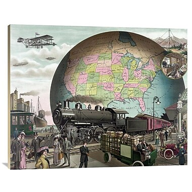 East Urban Home 'Twentieth Century Transportation' Watercolor Painting Print on Canvas