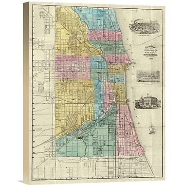 East Urban Home 'Guide Map of Chicago, 1869' Watercolor Painting Print on Canvas