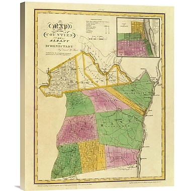East Urban Home 'New York - Albany, Schenectady Counties, 1829' Watercolor Painting Print on Canvas