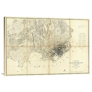 'City of San Francisco and Its Vicinity, California, 1859' Watercolor Painting Print on Canvas