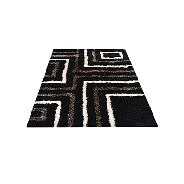 Orren Ellis Patti Abstract Hand Tufted Black/Beige Area Rug; 6' x 9'